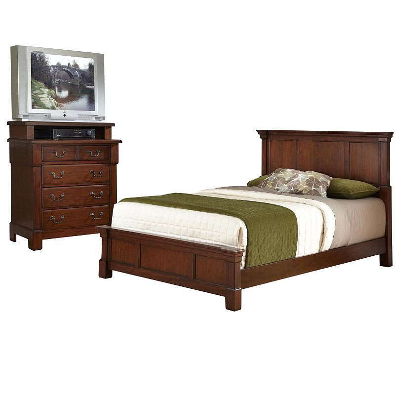 Aspen 2-pc. Queen/Full Headboard & 4-Drawer Media Chest Brown Set