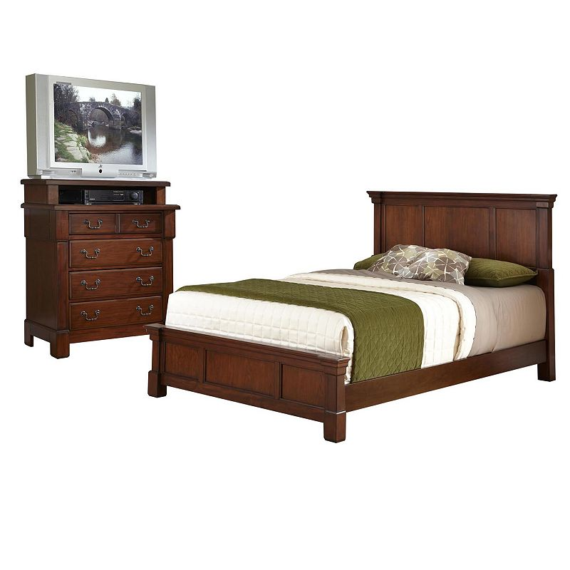 Home Styles Aspen 4-pc. Queen Headboard, Footboard, Frame & 4-Drawer Media Chest Set