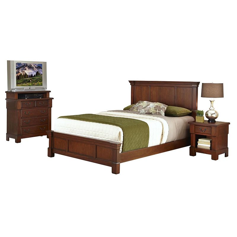 Home Styles Aspen 5-pc. King Headboard, Footboard, Frame, 4-Drawer Media Chest and Nightstand