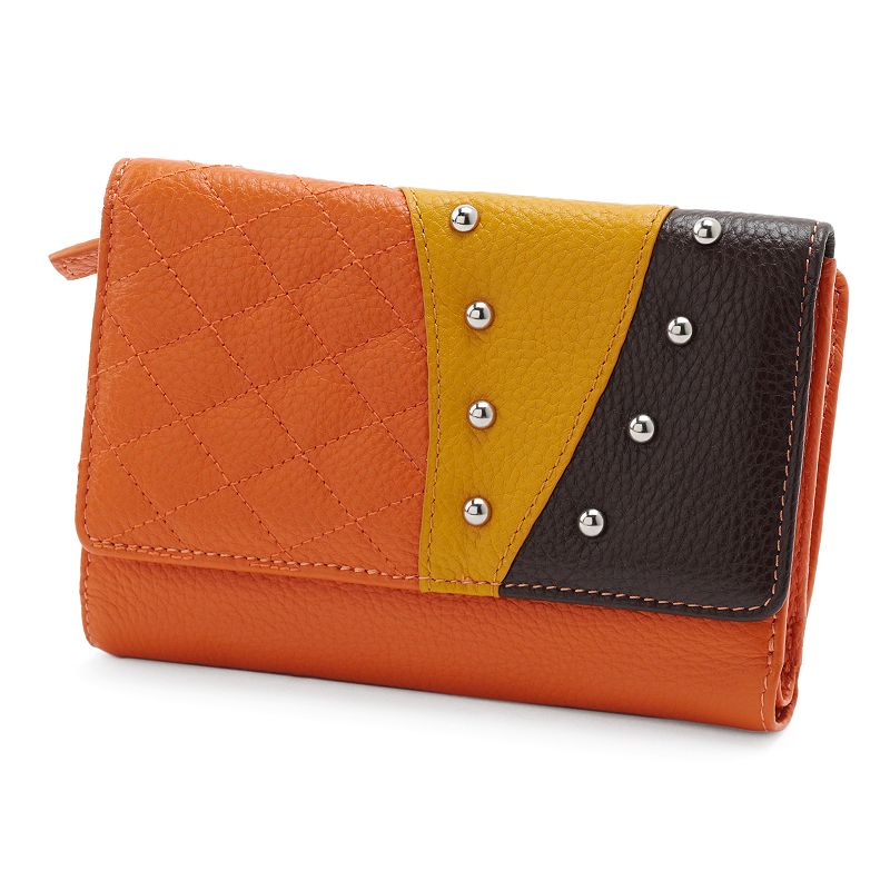 B-Collective by Buxton Hailey Leather Quilted Studded Trifold Wallet