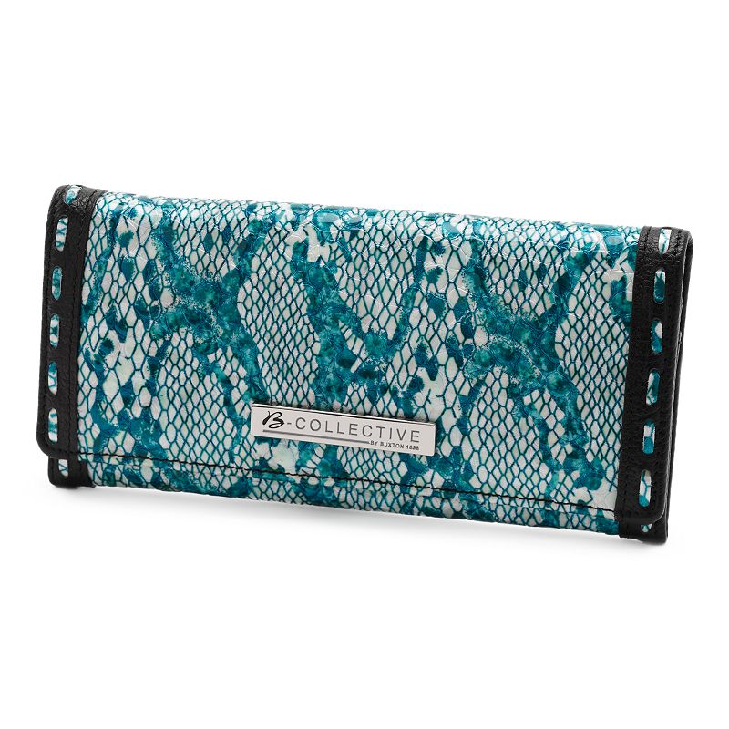 B-Collective by Buxton Margaret Leather Glazed Snakeskin Flap Wallet