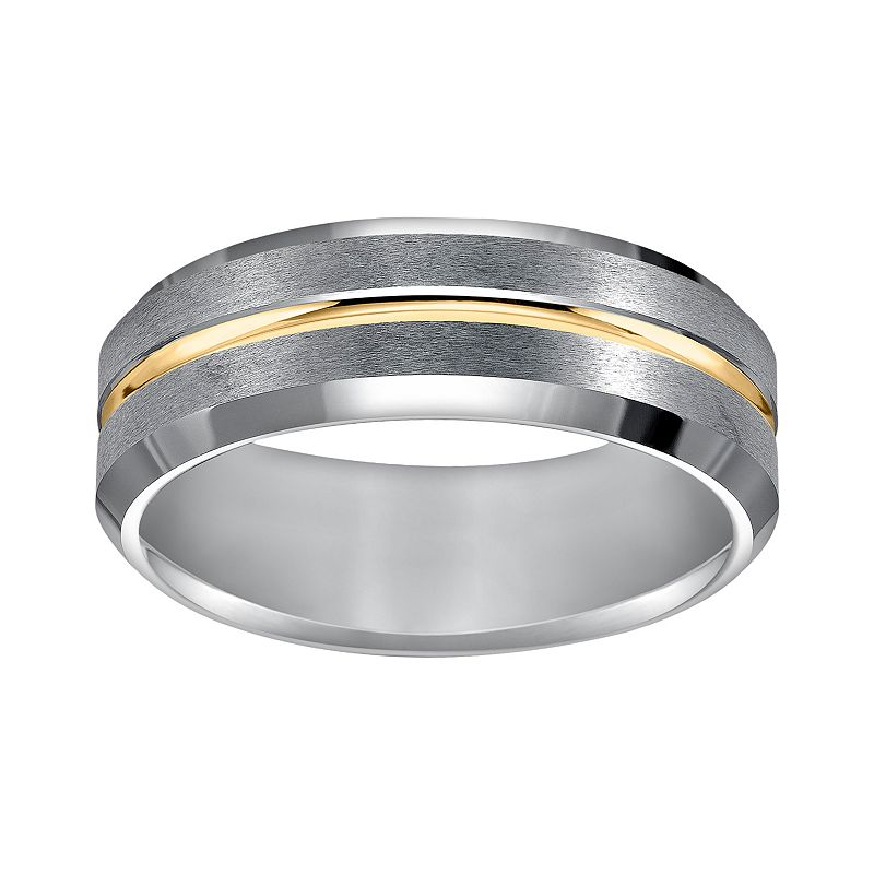 Cherish Always Tungsten Carbide and Yellow Ion-Plated Tungsten Carbide Wedding Band - Men
