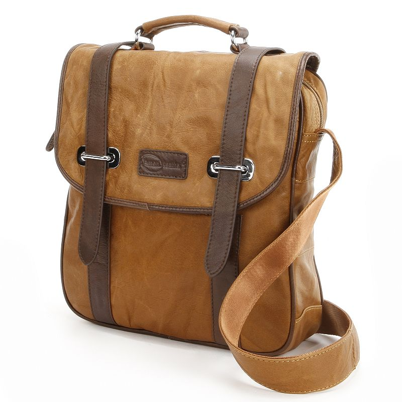 AmeriLeather Granger Leather Two-Tone Messenger Bag