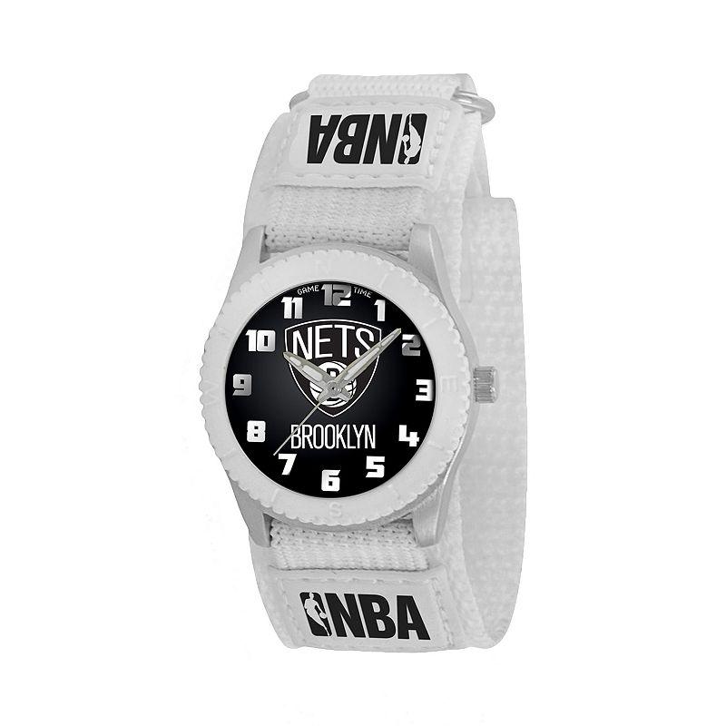 Game Time Rookie Series Brooklyn Nets Silver Tone Watch - NBA-ROW-BK - Kids