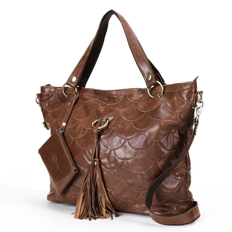 AmeriLeather Scalloped Leather Convertible Tote