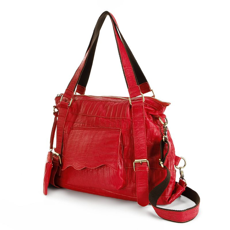 AmeriLeather Crunched Convertible Leather Tote