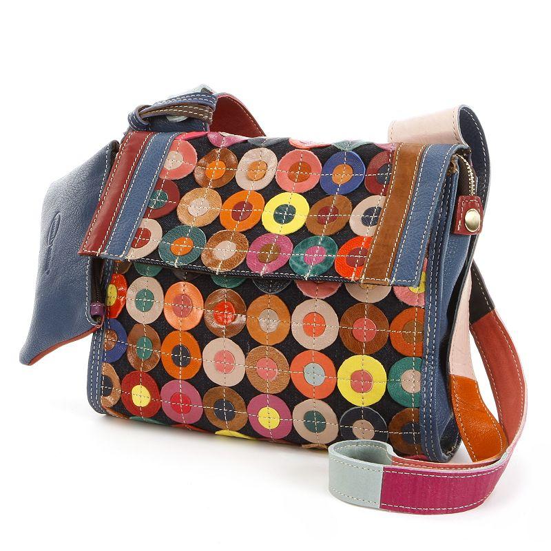 AmeriLeather Corin Leather Circle Patchwork Crossbody Bag