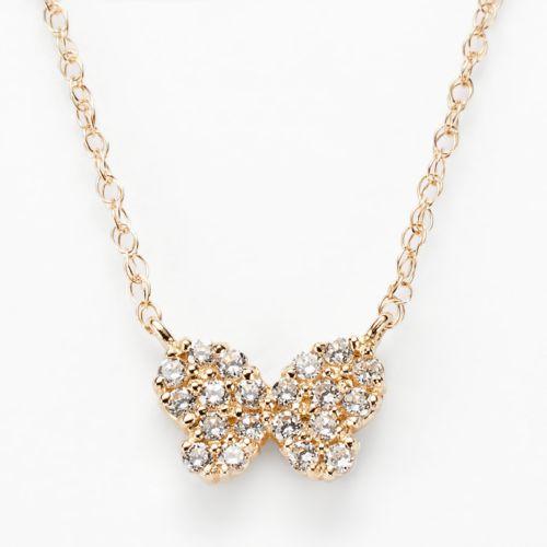 Junior Jewels 14k Gold Cubic Zirconia Butterfly Necklace - Kids