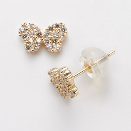 Junior Jewels 14k Gold Cubic Zirconia Butterfly Stud Earrings - Kids