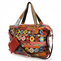 AmeriLeather Quincy Leather Circles & Stripes Patchwork Studded Convertible Tote
