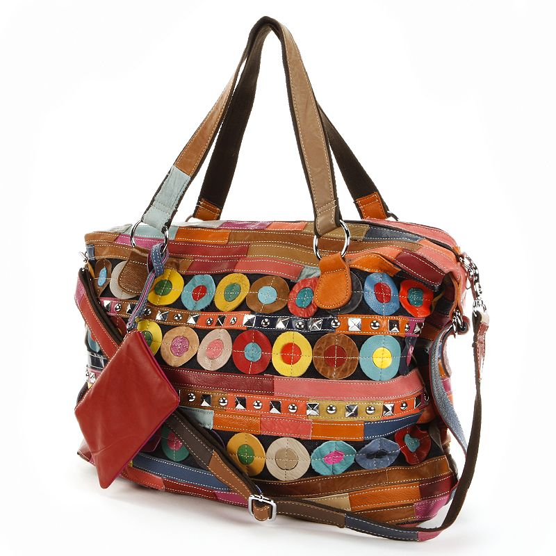 AmeriLeather Quincy Leather Circles and Stripes Patchwork Studded Convertible Tote