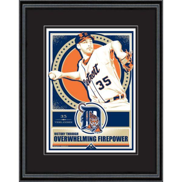 Detroit Tigers Justin Verlander Handmade LE Framed Screen Print