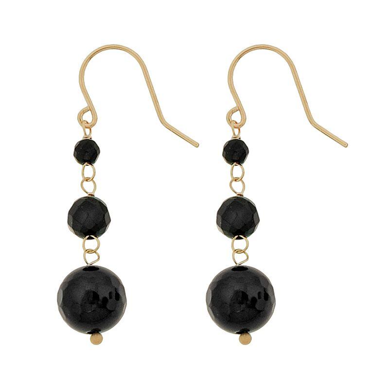 10k Gold Black Onyx Bead Linear Drop Earrings
