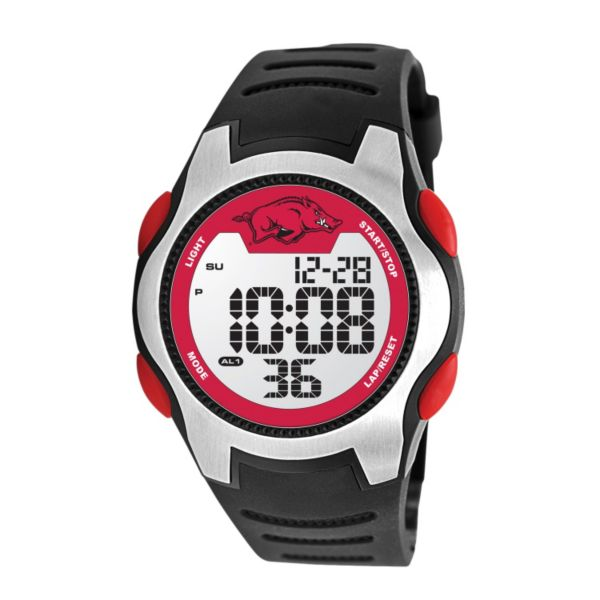 Game Time Training Camp Series Arkansas Razorbacks Silver Tone Digital Chronograph Watch - COL-TRC-ARK - Men