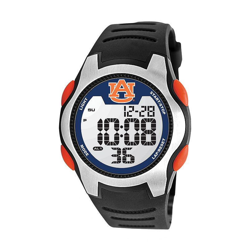 Game Time Training Camp Series Auburn Tigers Silver Tone Digital Chronograph Watch - COL-TRC-AUB - Men