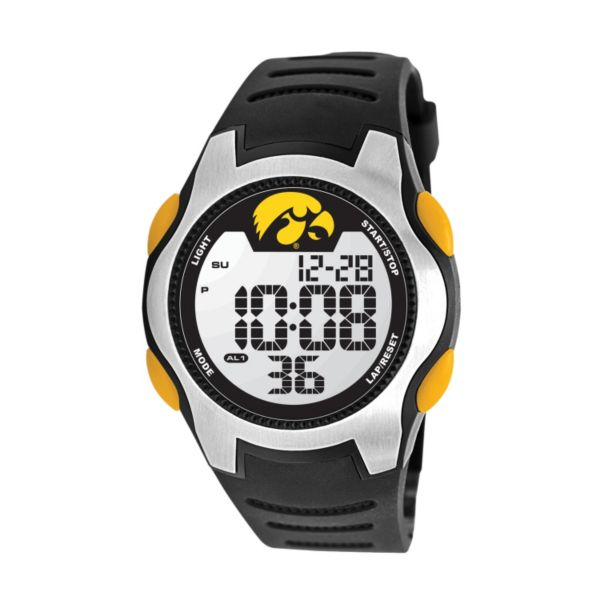 Game Time Training Camp Series Iowa Hawkeyes Silver Tone Digital Chronograph Watch - COL-TRC-IA - Men