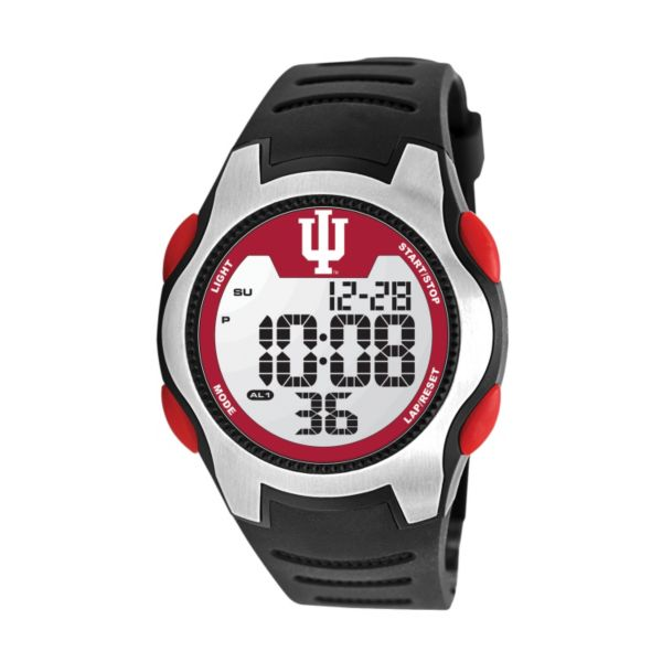 Game Time Training Camp Series Indiana Hoosiers Silver Tone Digital Chronograph Watch - COL-TRC-IND - Men