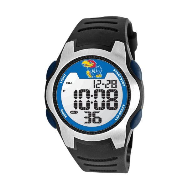 Game Time Training Camp Series Kansas Jayhawks Silver Tone Digital Chronograph Watch - COL-TRC-KAN - Men