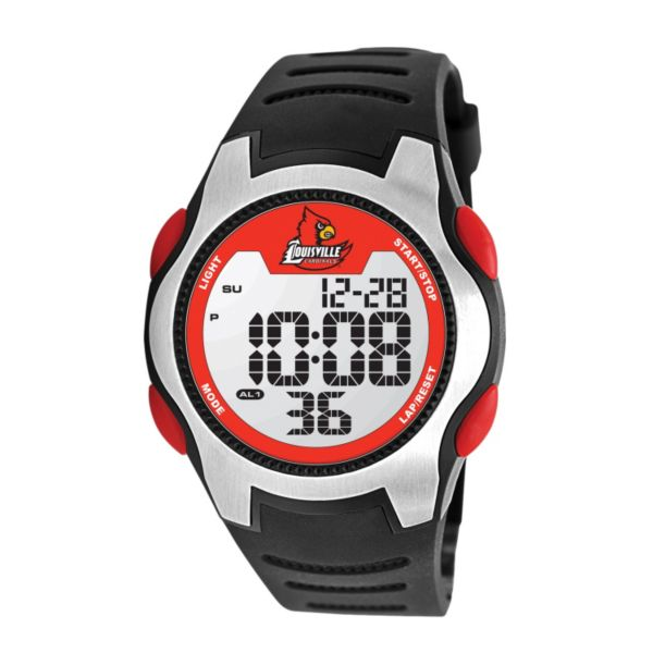 Game Time Training Camp Series Louisville Cardinals Silver Tone Digital Chronograph Watch - COL-TRC-LOU - Men