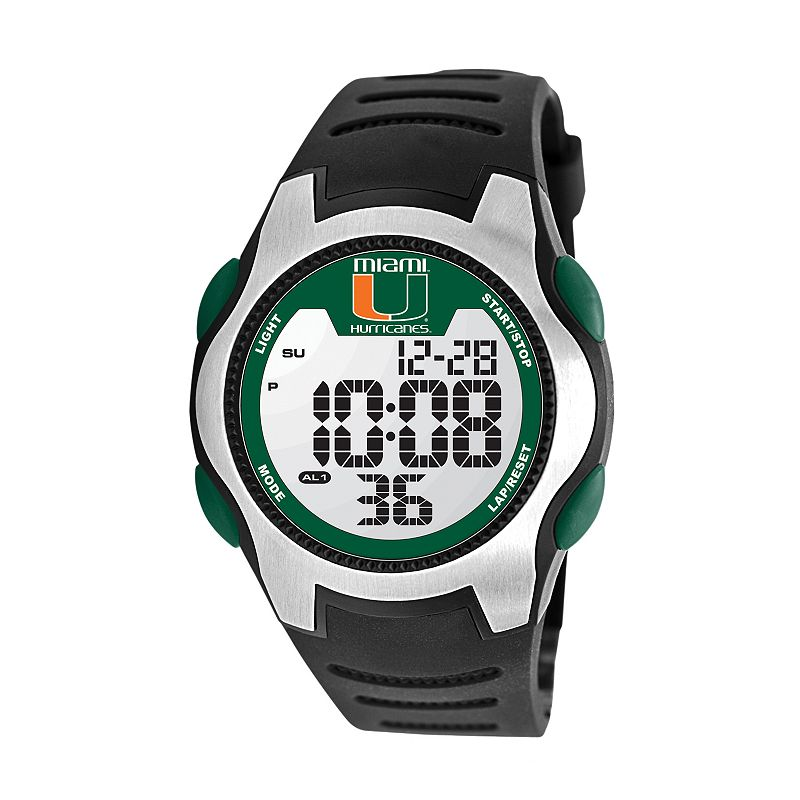 Game Time Training Camp Series Miami Hurricanes Silver Tone Digital Chronograph Watch - COL-TRC-MIA - Men