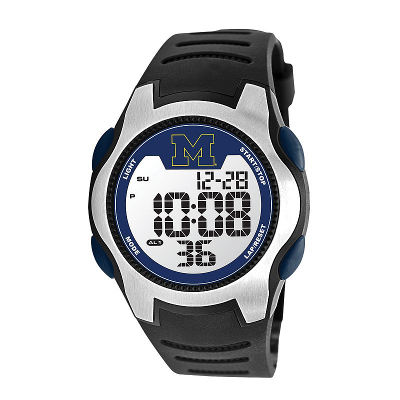 Game Time Training Camp Series Michigan Wolverines Silver Tone Digital Chronograph Watch - COL-TRC-MIC - Men