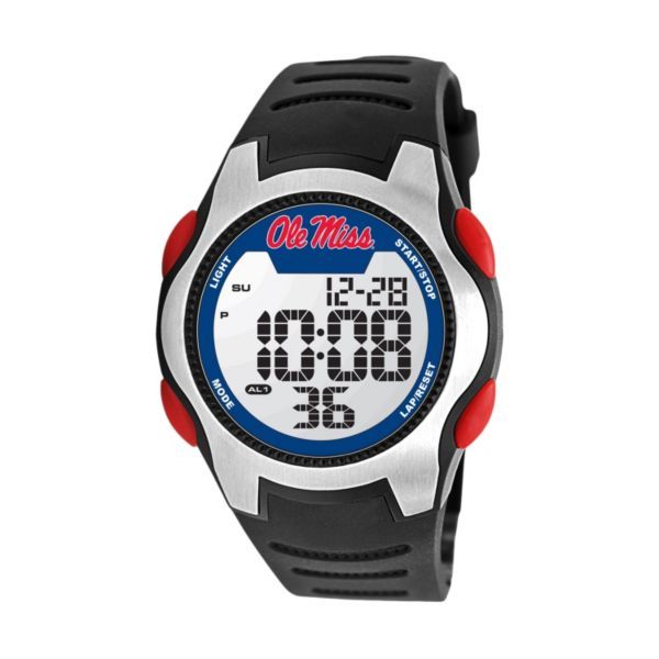 Game Time Training Camp Ole Miss Rebels Silver Tone Digital Chronograph Watch - COL-TRC-MIS - Men