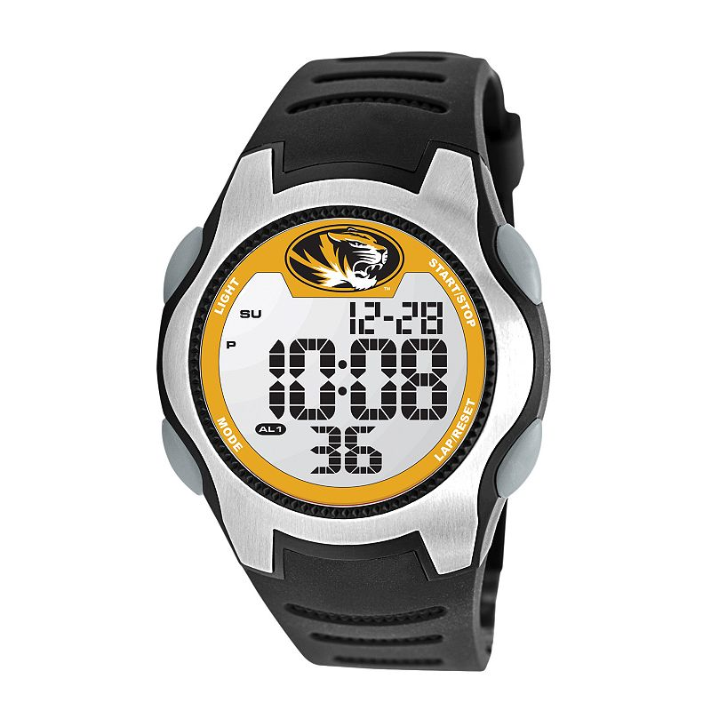 Game Time Training Camp Series Missouri Tigers Silver Tone Digital Chronograph Watch - COL-TRC-MO - Men