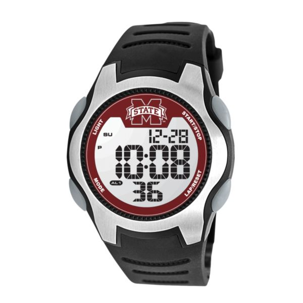 Game Time Training Camp Series Mississippi State Bulldogs Silver Tone Digital Chronograph Watch - COL-TRC-MSS - Men