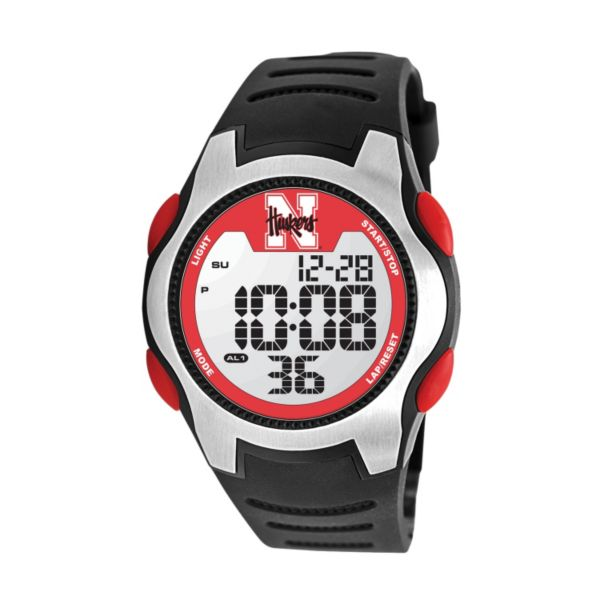 Game Time Training Camp Series Nebraska Cornhuskers Silver Tone Digital Chronograph Watch - COL-TRC-NEB - Men