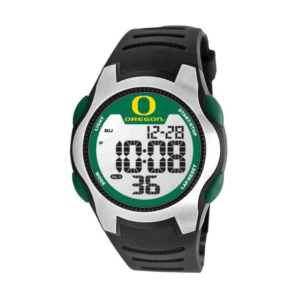 Game Time Training Camp Series Oregon Ducks Silver Tone Digital Chronograph Watch - COL-TRC-ORE - Men