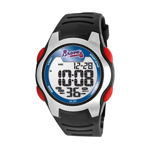 Game Time Training Camp Atlanta Braves Silver Tone Digital Chronograph Watch - MLB-TRC-ATL - Men