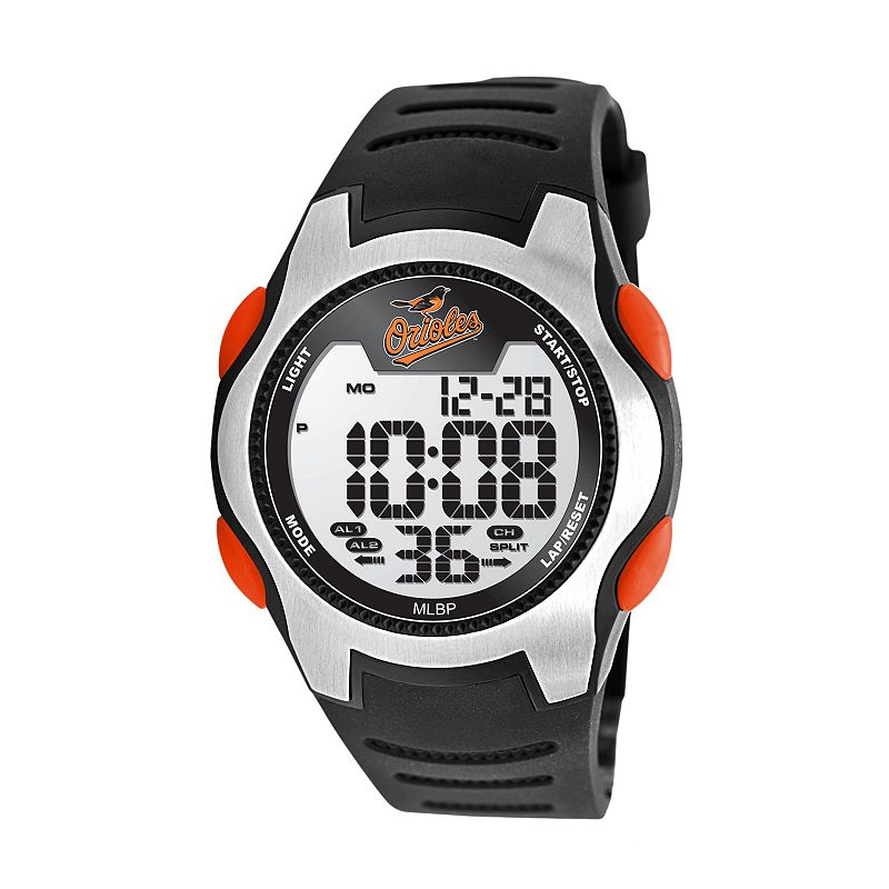 Game Time Training Camp Series Baltimore Orioles Silver Tone Digital Chronograph Watch - MLB-TRC-BAL - Men