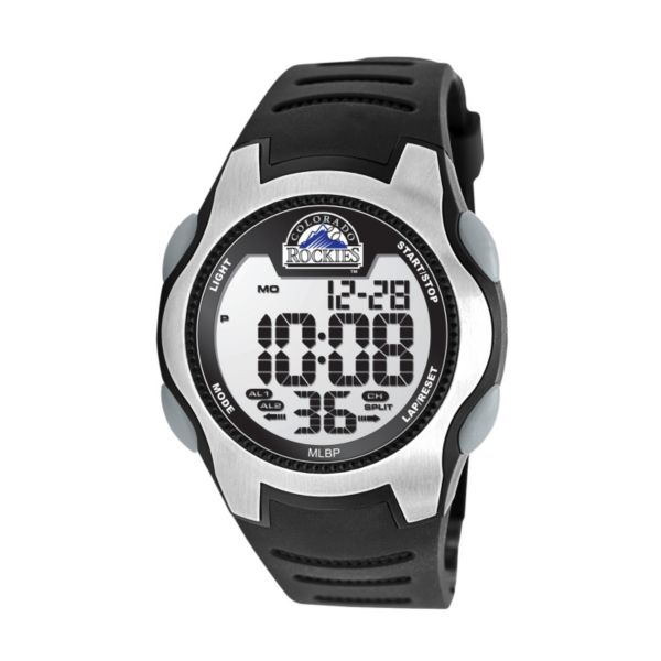 Game Time Training Camp Series Colorado Rockies Silver Tone Digital Chronograph Watch - MLB-TRC-COL - Men