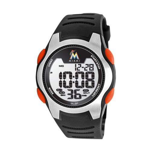 Game Time Training Camp Series Miami Marlins Silver Tone Digital Chronograph Watch - MLB-TRC-MIA - Men