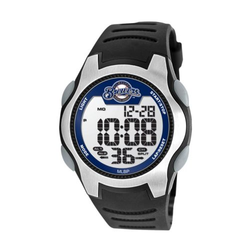 Game Time Training Camp Series Milwaukee Brewers Silver Tone Digital Chronograph Watch - MLB-TRC-MIL - Men