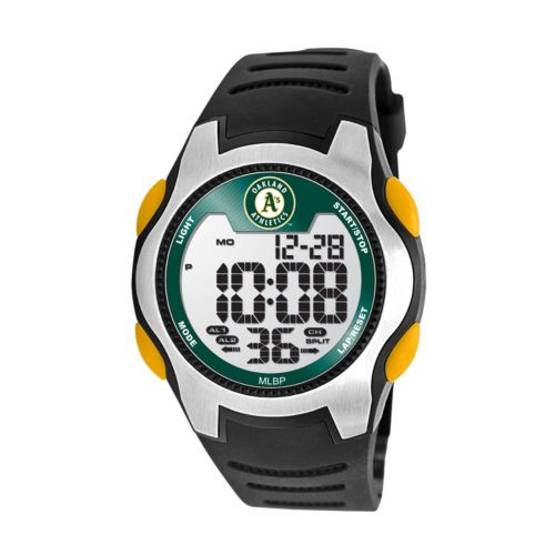 Game Time Training Camp Series Oakland Athletics Silver Tone Digital Chronograph Watch - MLB-TRC-OAK - Men