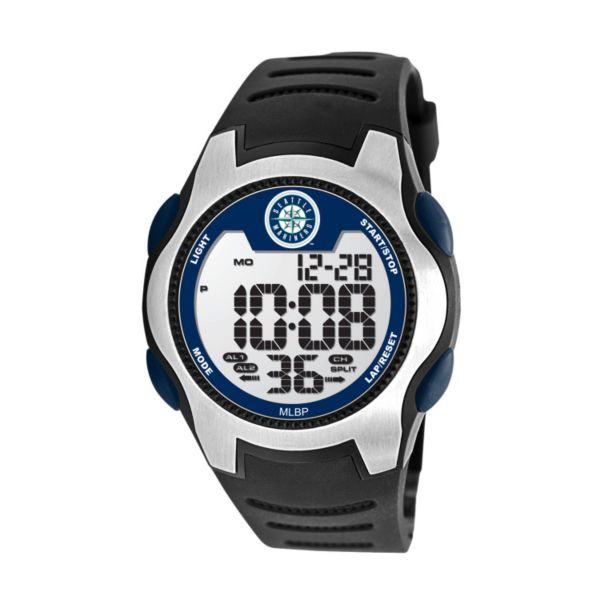 Game Time Training Camp Series Seattle Mariners Silver Tone Digital Chronograph Watch - MLB-TRC-SEA - Men