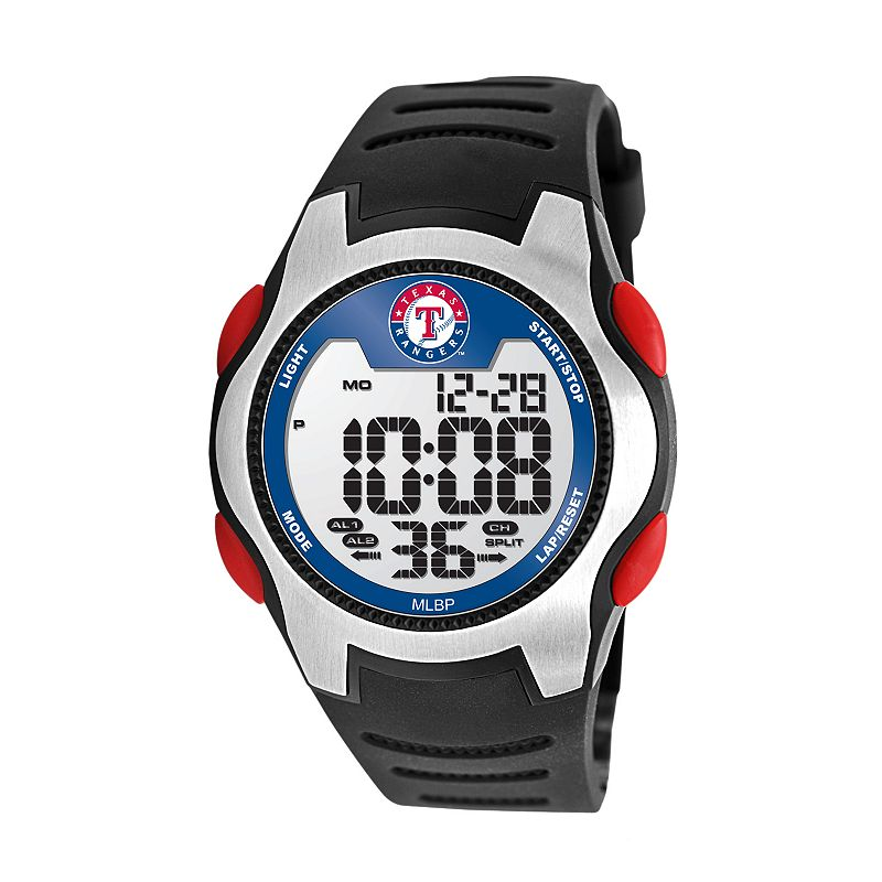 Game Time Training Camp Series Texas Rangers Silver Tone Digital Chronograph Watch - MLB-TRC-TEX - Men