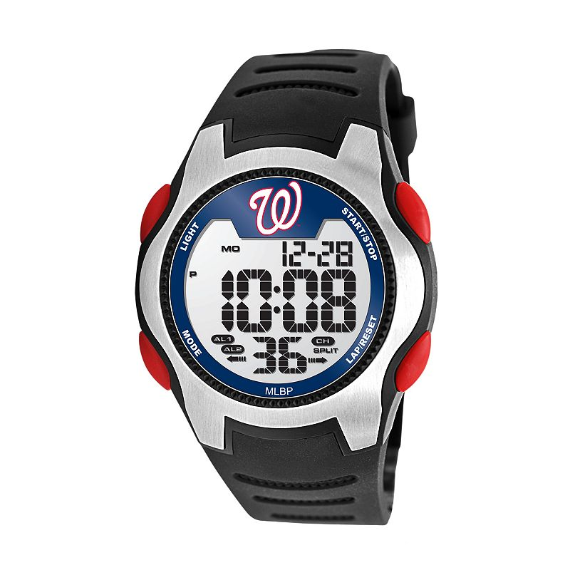 Game Time Training Camp Series Washington Nationals Silver Tone Digital Chronograph Watch - MLB-TRC-WAS - Men