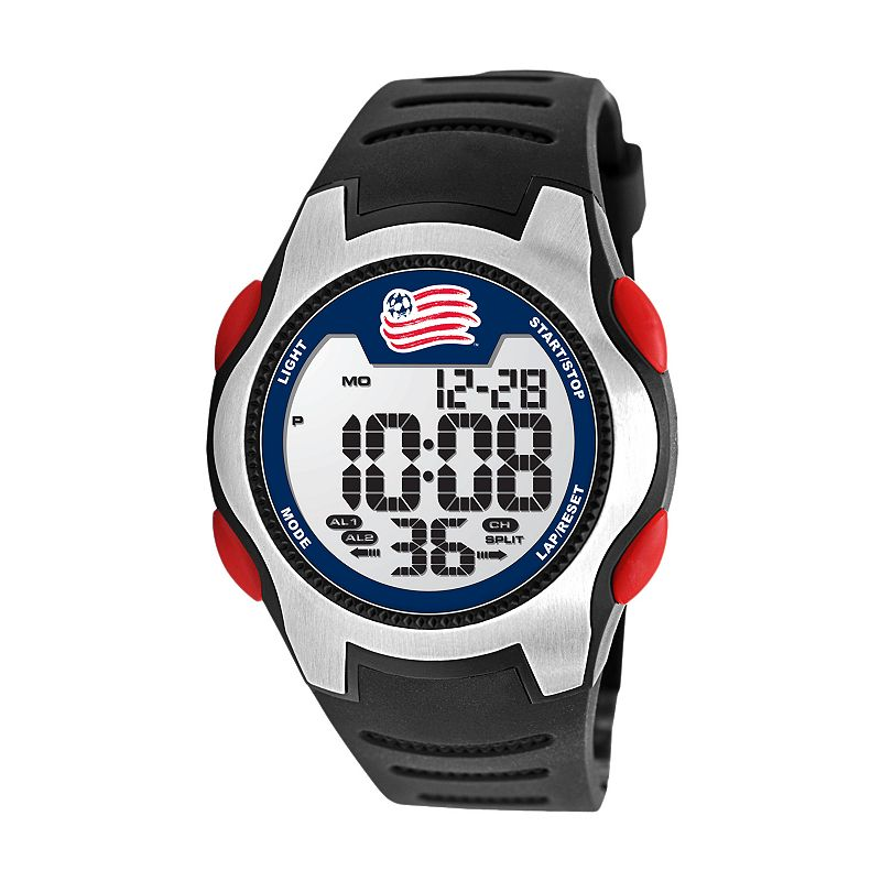 Game Time Training Camp New England Revolution Silver Tone Digital Chronograph Watch - MLS-TRC-NE - Men