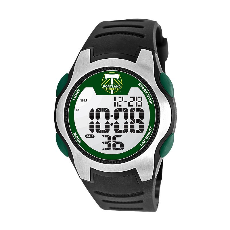 Game Time Training Camp Portland Timbers Silver Tone Digital Chronograph Watch - MLS-TRC-POR - Men