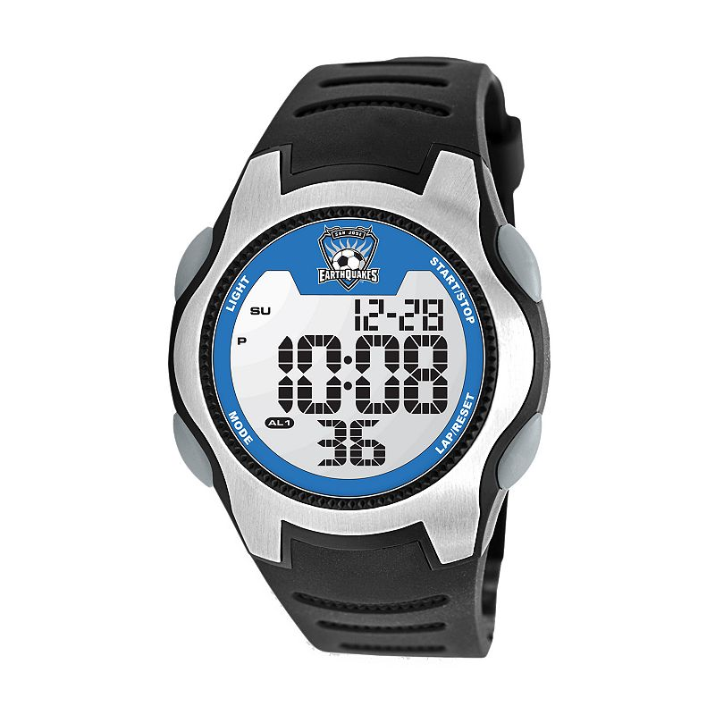 Game Time Training Camp San Jose Earthquakes Silver Tone Digital Chronograph Watch - MLS-TRC-SJ - Men