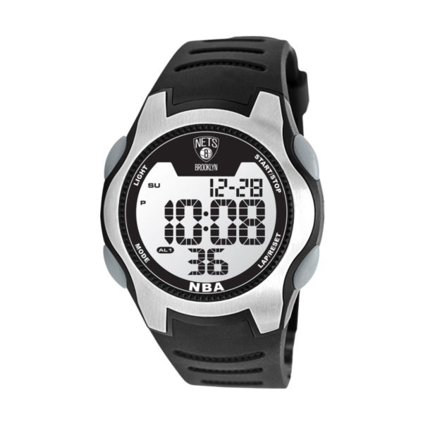 Game Time Training Camp Brooklyn Nets Silver Tone Digital Chronograph Watch - NBA-TRC-BK - Men