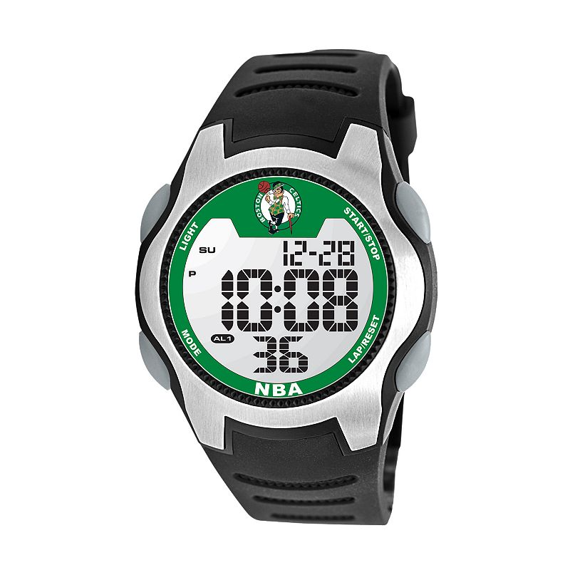 Game Time Training Camp Boston Celtics Silver Tone Digital Chronograph Watch - NBA-TRC-BOS - Men