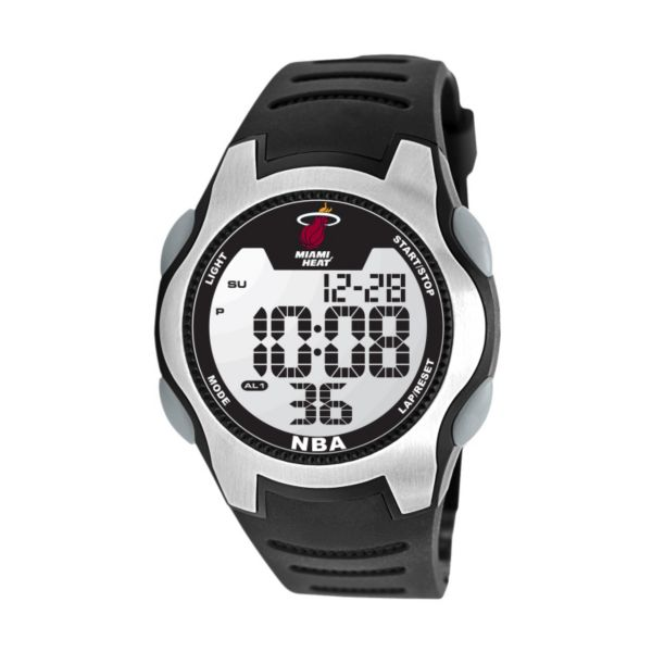 Game Time Training Camp Miami Heat Silver Tone Digital Chronograph Watch - NBA-TRC-MIA - Men