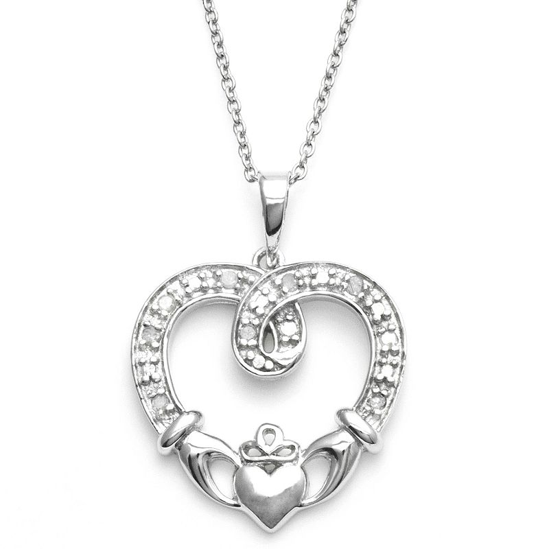 Sterling Silver 1/10-ct. T.W. Diamond Claddagh Heart Pendant