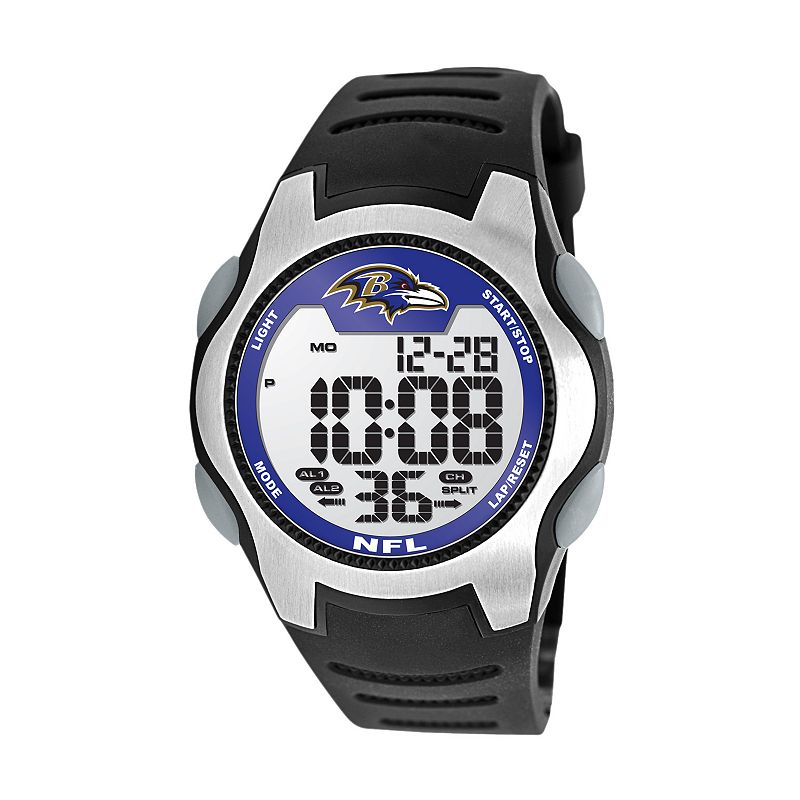 Game Time Training Camp Baltimore Ravens Silver Tone Digital Chronograph Watch - NFL-TRC-BAL - Men