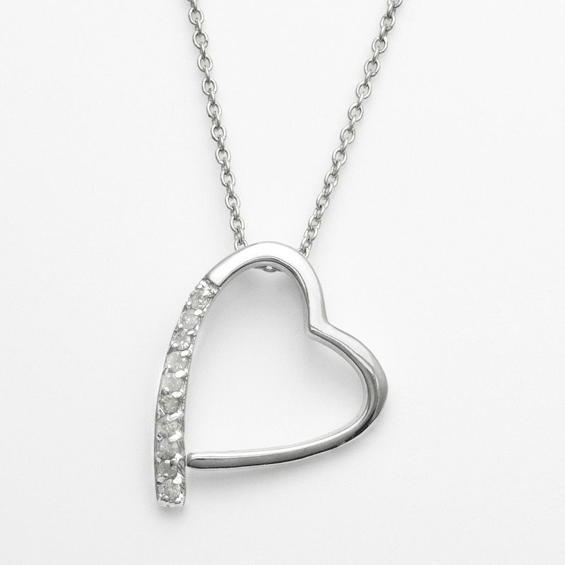 Sterling Silver 1/10-ct. T.W. Diamond Tilted Heart Pendant