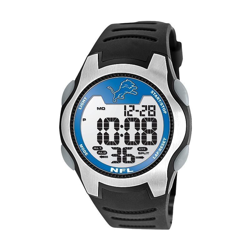 Game Time Training Camp Detroit Lions Silver Tone Digital Chronograph Watch - NFL-TRC-DET - Men
