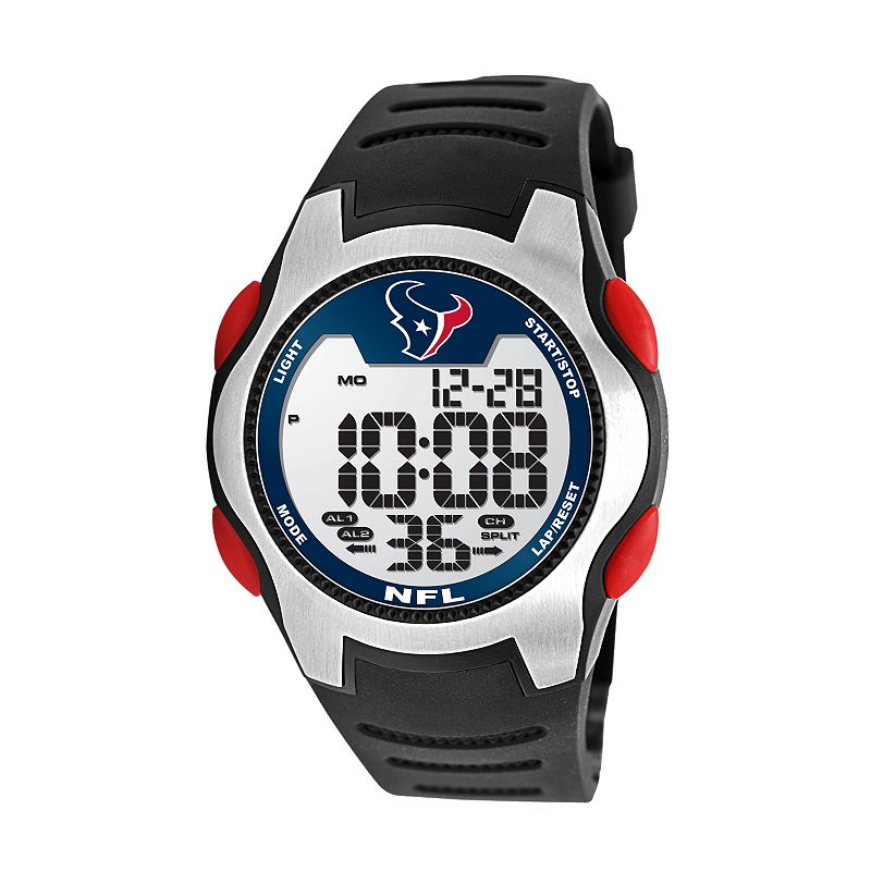 Game Time Training Camp Houston Texans Silver Tone Digital Chronograph Watch - NFL-TRC-HOU - Men
